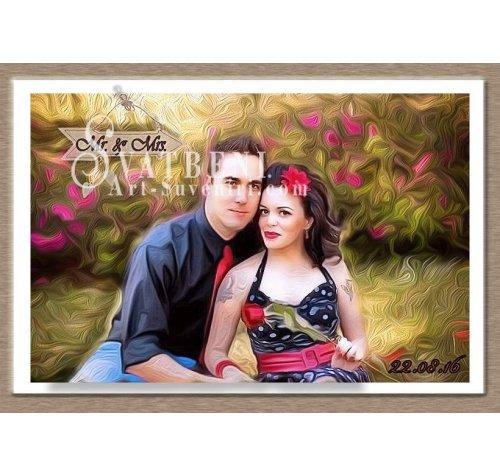 Сватбени Магнити с Рисунък - Маслено Платно 9х6 см :: Картини по Снимка #01-20 ››664