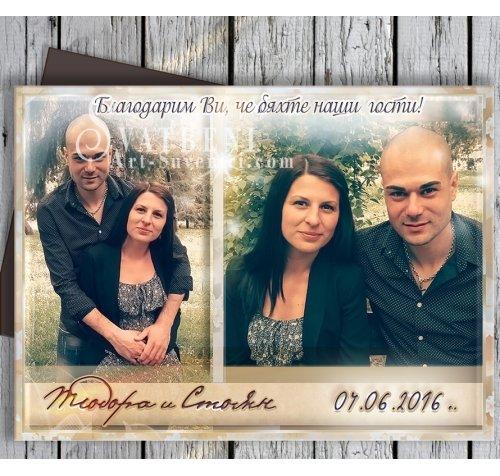 Сватбени Магнити със Снимка - хоризонтален дизайн :: Подаръци за гостите #01-2 ››435