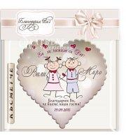 Сватбени Магнитчета - Сърце с Дизайн Младоженци Дрийми :: #01-5