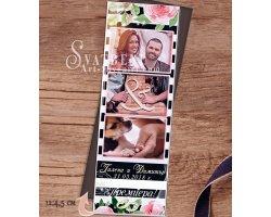 """Магнити с три Снимки """"FloralStrip"""" с тема Божури :: Сватбени подаръци #01-8"""