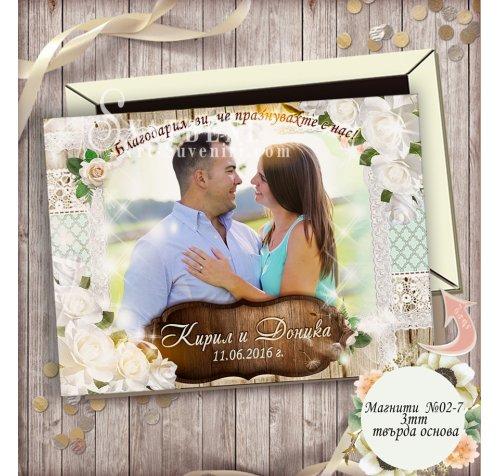 Магнити Рустик тема и Рози :: Подарък за гостите на сватбата #02-7››525