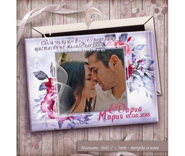"""Дизайн """"Floral"""" с Акцент върху Снимката :: Сватбени Магнити скосени страни#02-7"""