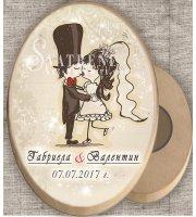 """Дизайн """"Младоженци Туни Целувка"""" :: Дървени магнити #08-7"""