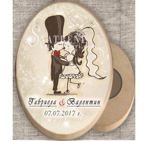 """Дизайн """"Младоженци Туни Целувка"""" :: Дървени магнити #08-7››353"""