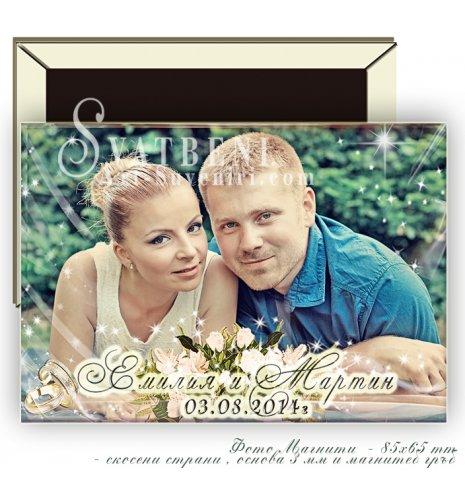 Големи Магнити с Акцент върху Снимката Ви :: Тема Бели Рози, #02-7 (Магнити със скосени страни) АРТ™