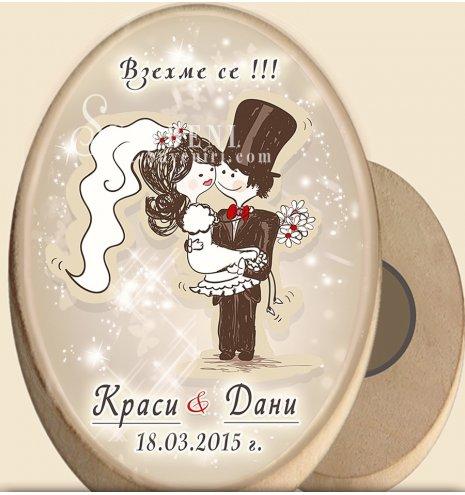 """Дизайн """"Младоженци Туни"""" :: Дървени магнити #08-7 (Елипси от дърво :: Два размера) АРТ™"""