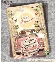 """""""Младоженци Just Married"""" :: Магнити за хладилник с твърда основа #09-5"""