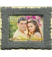 Магнити с Релефна рамка Графит и Акцент върху Снимката Ви :: Сватбени Подаръци за гостите #32-3