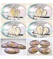 """Стъклени Магнити с Дизайн """"Love Birds"""" :: Сватбени Подаръци за гостите #1-09"""