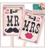 Комплект от 2 бр Табелки Mr.+Mrs. - Винтидж Тема