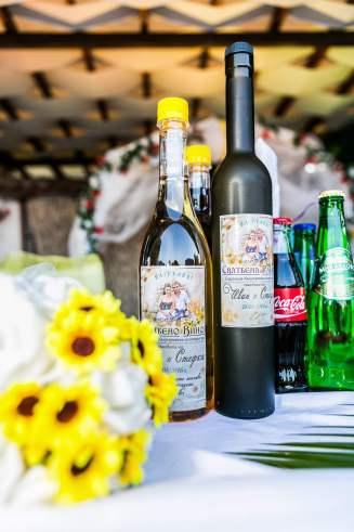 Самозалепващи се етикети за бутилки за сватбена ракия - сватбена тема слънчогледи.